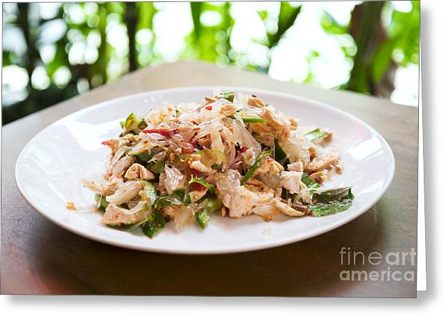 Pomelo Salad In Thailand Greeting Card by Jacek Malipan