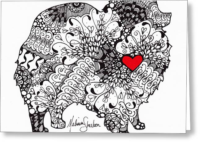 Greeting Card featuring the drawing Pomeranian by Melissa Sherbon
