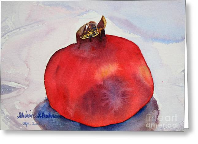Greeting Card featuring the painting Pomogranate Punica Granatum by Shirin Shahram Badie