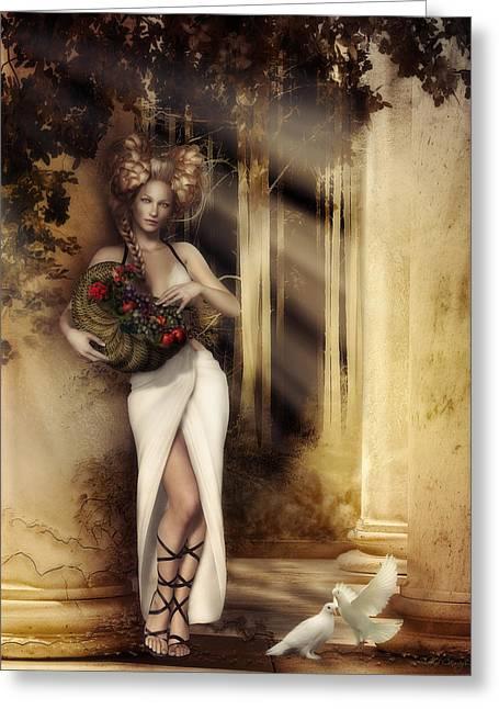 Pomona Goddess Of Bountiful Harvest Greeting Card by Shanina Conway