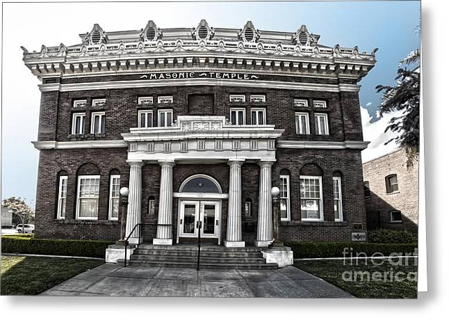 Pomona Masonic Temple Greeting Card by Gregory Dyer
