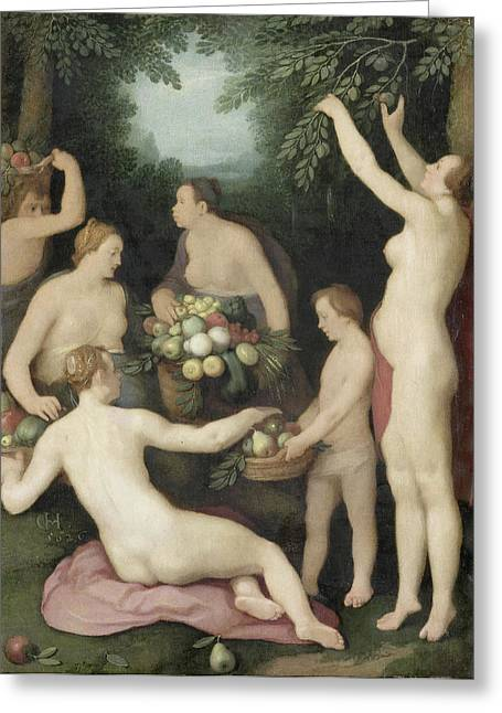 Pomona Receives The Harvest Of Fruit Greeting Card