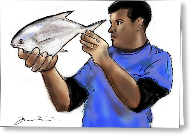 Greeting Card featuring the painting Pompano Catch Of The Day by Jean Pacheco Ravinski