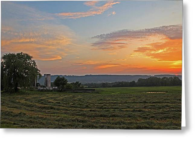 Pompey Hay - June Sunset Greeting Card
