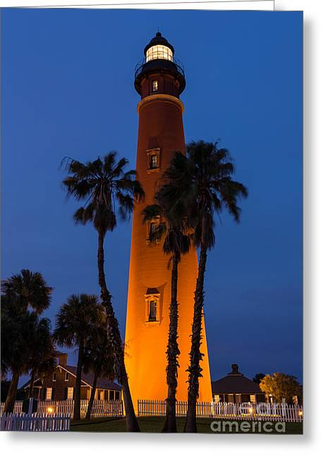 Ponce De Leon Lighthouse At Night Daytona Beach Florida Greeting Card