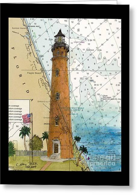 Ponce Inlet Lighthouse Fl Nautical Chart Map Art Cathy Peek Greeting Card