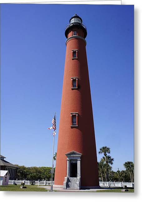 Greeting Card featuring the photograph Ponce Inlet Lighthouse by Laurie Perry