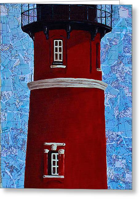 Greeting Card featuring the mixed media Ponce Inlet Lighthouse by Melissa Sherbon