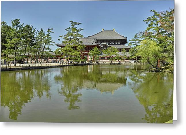 Pond At Todai-ji Temple, Nara, Nara Greeting Card