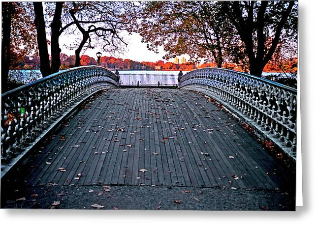 Pond Footbridge Greeting Card