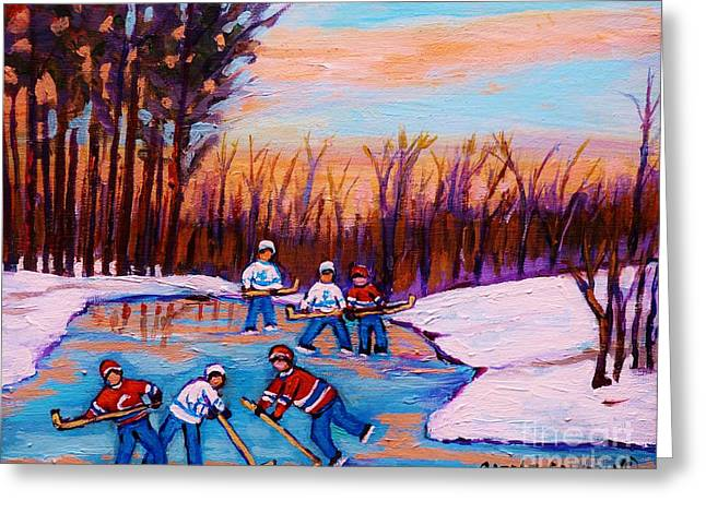 Pond Hockey Canadiens Superstars Frozen Pond Winter Landscapes  Carole Spandau Paintings Greeting Card by Carole Spandau
