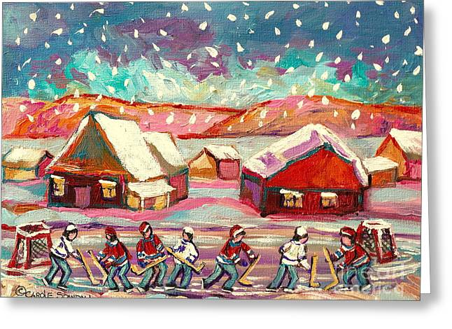Pond Hockey Game 3 Greeting Card