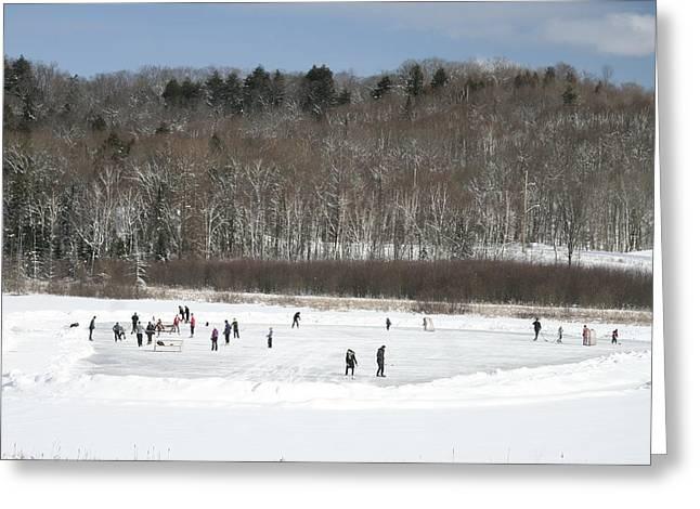 Pond Hockey Muskoka Greeting Card by Carolyn Reinhart