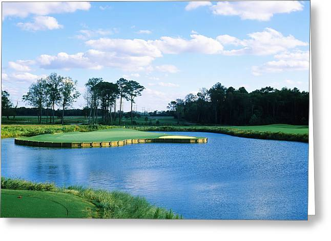 Pond In A Golf Course, Carolina Golf Greeting Card by Panoramic Images