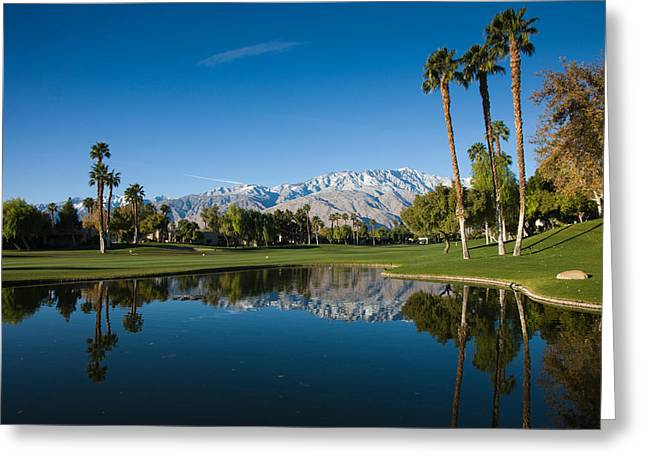 Pond In A Golf Course, Desert Princess Greeting Card by Panoramic Images
