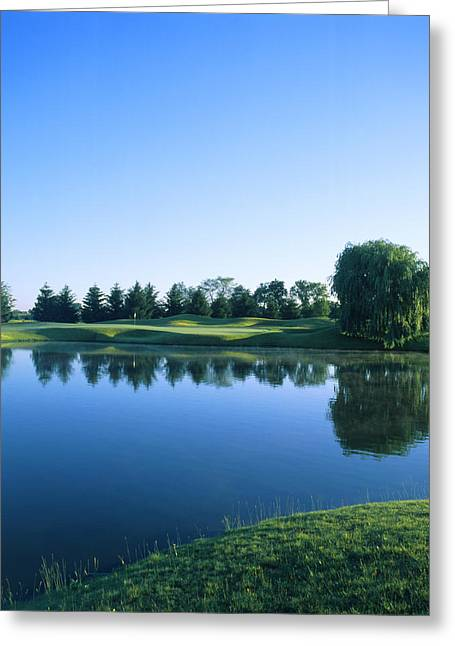 Pond In A Golf Course, Rich Harvest Greeting Card by Panoramic Images