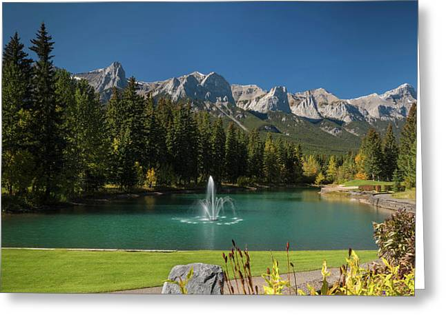 Pond In Canmore Golf Course, Mount Greeting Card