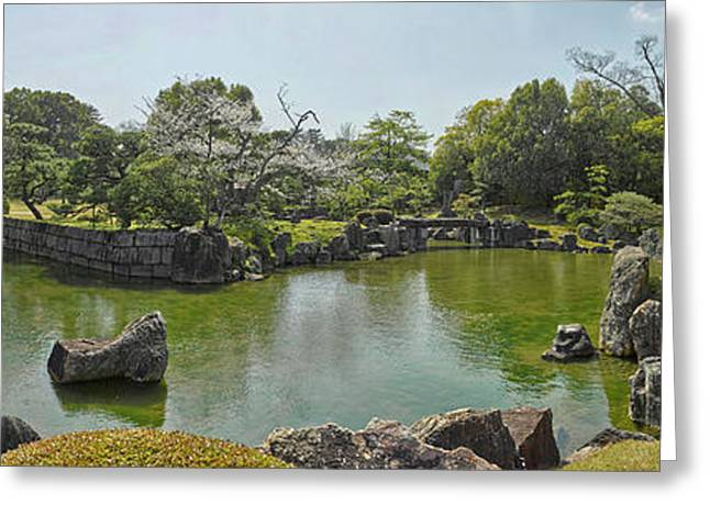 Pond In Ninomaru Garden At Nijo Castle Greeting Card by Panoramic Images