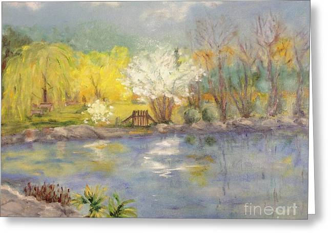 Pond In Ulm Germany In Spring Greeting Card