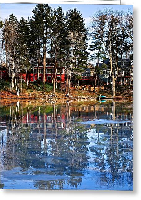Pond Of Ice And Trees Greeting Card by Frozen in Time Fine Art Photography