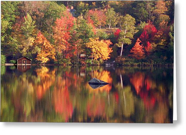 Autumn Pond Reflection Greeting Card by Jeff Folger