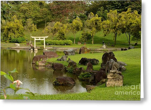 Pond Rocks Grass And Japanese Arch Singapore Greeting Card