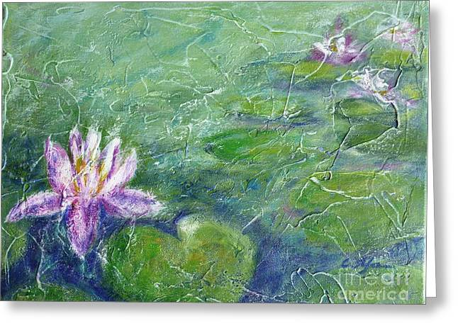 Green Pond With Water Lily Greeting Card