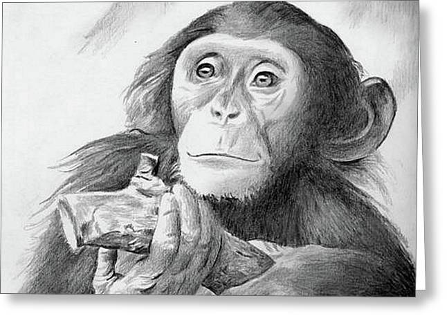 Pondering Chimpanzee Greeting Card