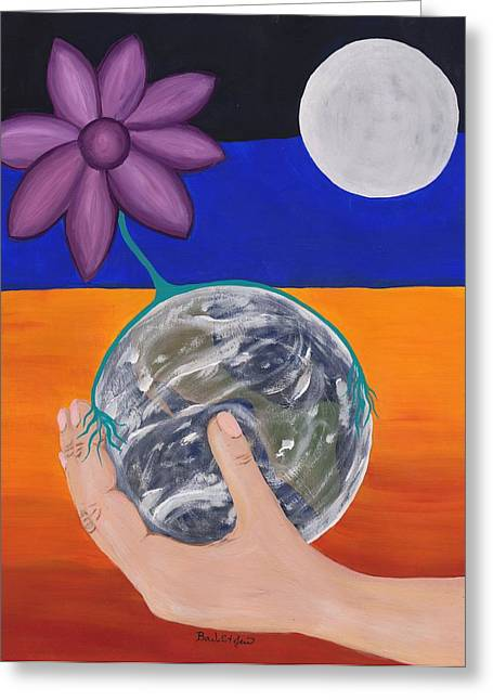 Pondering Creation Hand And Globe Greeting Card by Barbara St Jean