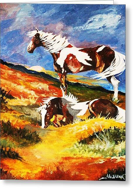 Greeting Card featuring the painting Ponies At Sunset by Al Brown