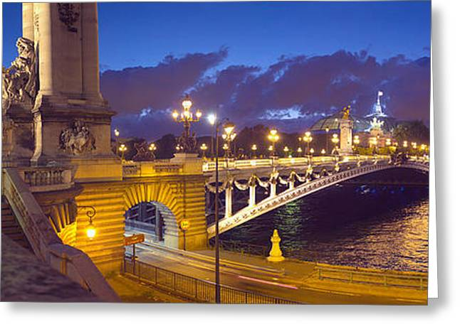 Pont Alexandre IIi Bridge At Dusk Greeting Card by Panoramic Images