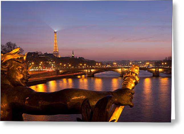 Pont Alexandre IIi Bridge With Statue Greeting Card by Panoramic Images