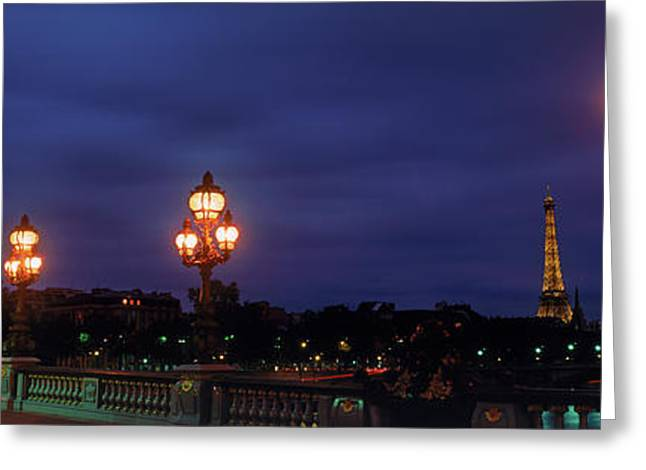 Pont Alexandre IIi With Eiffel Tower Greeting Card by Panoramic Images