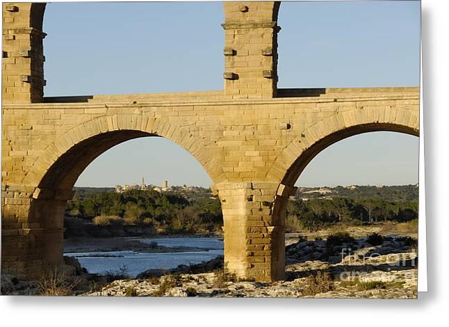 Pont Du Gard Arcade Greeting Card by Sami Sarkis