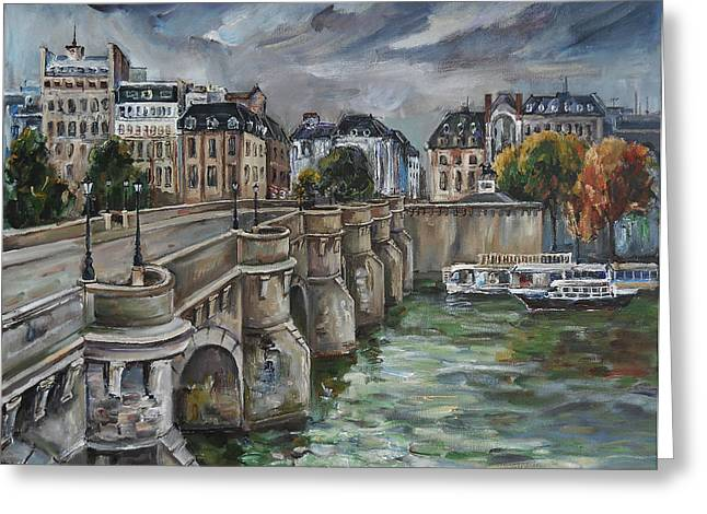 Pont Neuf At Dusk Greeting Card