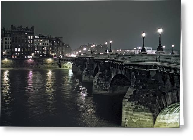 Pont Neuf Bridge At Night - Paris France Greeting Card
