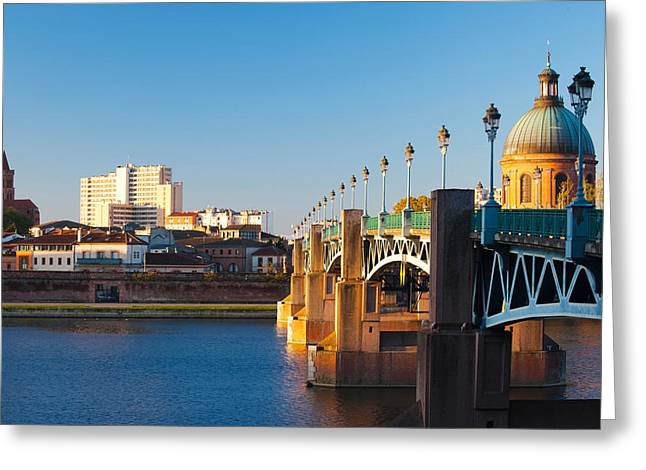 Pont Saint-pierre Bridge And The Dome Greeting Card by Panoramic Images