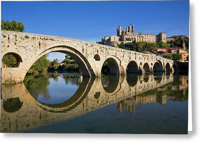 Pont Vieux Bridge Over River Orb And St Greeting Card
