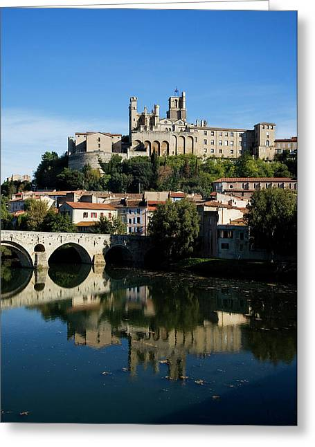 Pont Vieux Bridge Over River Orb Greeting Card by Panoramic Images