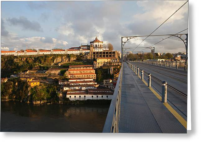 Ponte Luis I And Serra Do Pilar At Sunset In Portugal Greeting Card by Artur Bogacki