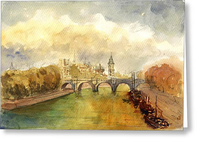 Ponte Neuf Paris Greeting Card by Juan  Bosco