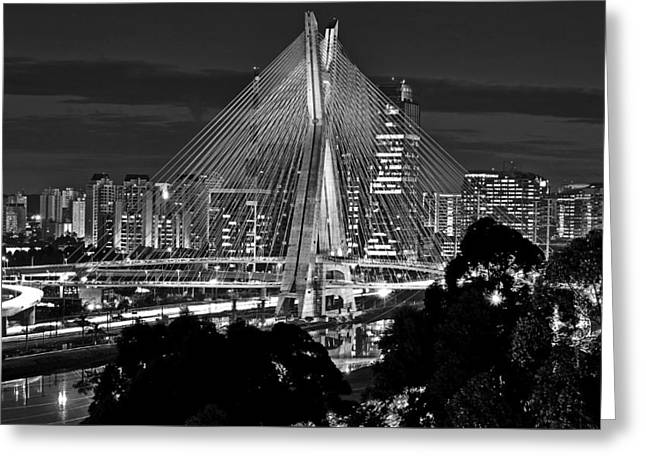 Sao Paulo - Ponte Octavio Frias De Oliveira By Night In Black And White Greeting Card