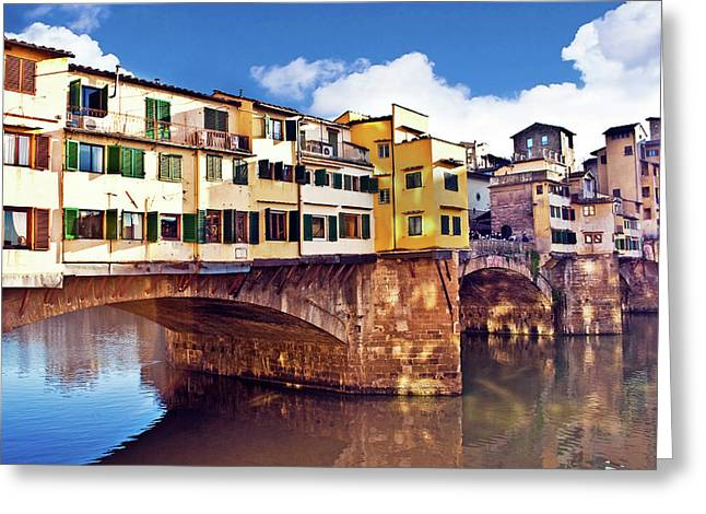 Ponte Vecchio And Arno River, Florence Greeting Card by Miva Stock