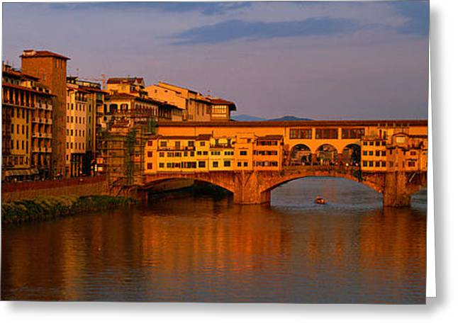 Ponte Vecchio Arno River Florence Italy Greeting Card by Panoramic Images