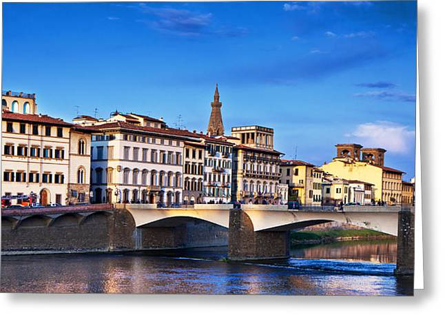 Ponte Vecchio Bridge At Twilight Greeting Card by Susan Schmitz