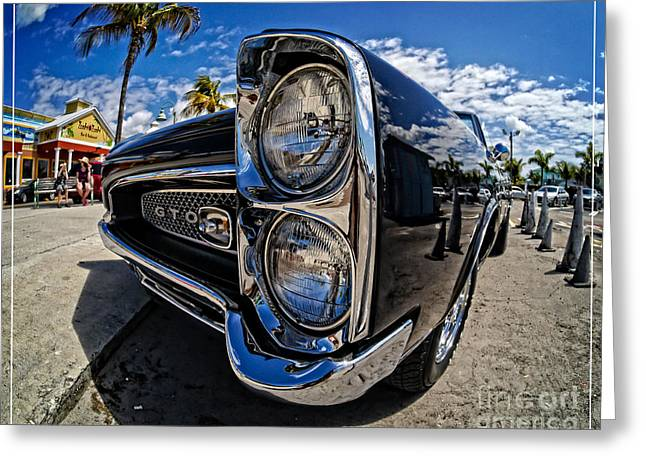 Pontiac Gto Convertible Ft Myers Beach Florida Greeting Card by Edward Fielding