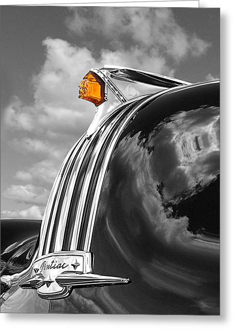 Pontiac Hood Ornament Black And White With Highlight Greeting Card by Gill Billington