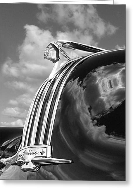 Pontiac Indian Hood Ornament Black And White Greeting Card by Gill Billington