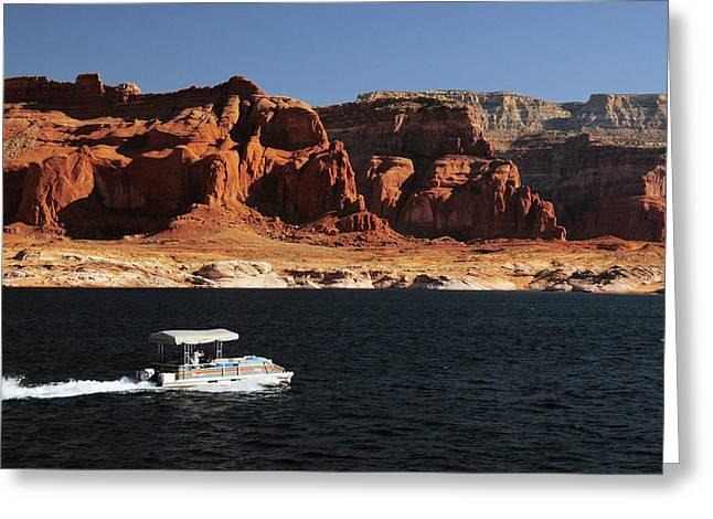 Pontoon Boat On Lake Powell, Glen Greeting Card by Michel Hersen
