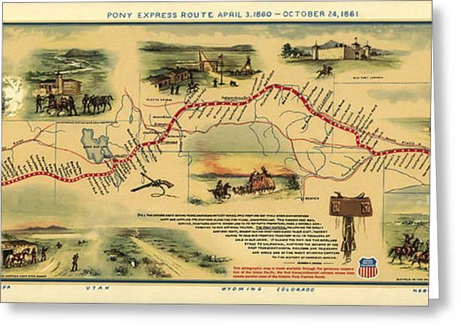 Pony Express Map William Henry Jackson Greeting Card